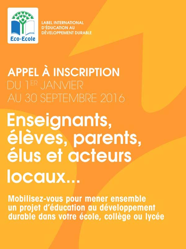 Appel a inscription eco ecole 2016